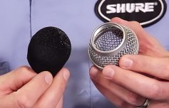 Cleaning the grille of a Shure SM58