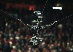 The SkyCam WildCat system includes fiber-optic transceiver technology from MultiDyne to send the signal from a Sony HD camera to a control booth situated at the top of the stadium and then incorporated into the live broadcast.