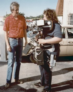Garrett Brown teaching the writer to use a Steadicam, early 1980s.