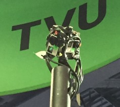 The image source for the TVU VR demonstration was on a mast in the TVU exhibit.