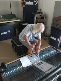 Terry Nelson preparing the Cadac consoles