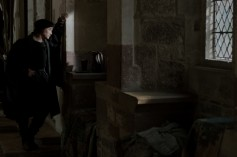 Mark Rylance as Thomas Cromwell at Esher Place, seat of his mentor Cardinal Wolsey. Lights were arranged outside the building to create consistent 'daylight' coming through the windows.