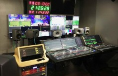 CCTV EFP audio set up, with Lawo console and Genelec monitors. Click to enlarge.