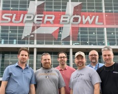The comms team for the TV production of Super Bowl LI (left to right): Andy Rostron, Shawn Peacock, Eddie Verstraete, Mike Gilman, Jeff Barwise and Jeff Anderson <br />