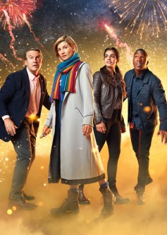 The Doctor (Jodie Whittaker) with her TARDIS Team (L to R): Graham (Bradley Walsh), Yaz (Mandip Gill) and Ryan (Tosin Cole). (BBC/photographer Henrik Knudsen)
