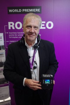 RTS intercom sales manager Jon Ridel with a ROAMEO belt pack.
