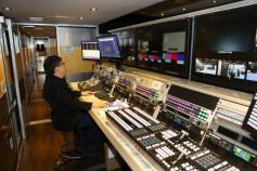 Full-sized trucks showcased new video and audio technology. Image: NAB.