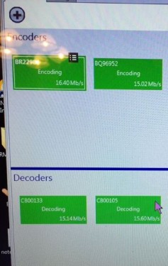 Matrox PowerStream software confirmed encoding and decoding at 15Mb/s or better at each point. The 900 MHz backhaul is on the left, 5GHz at right.