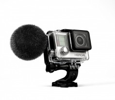 Sennheiser MKE 2 elements mic fitted to GoPro HERO4. Click to enlarge.
