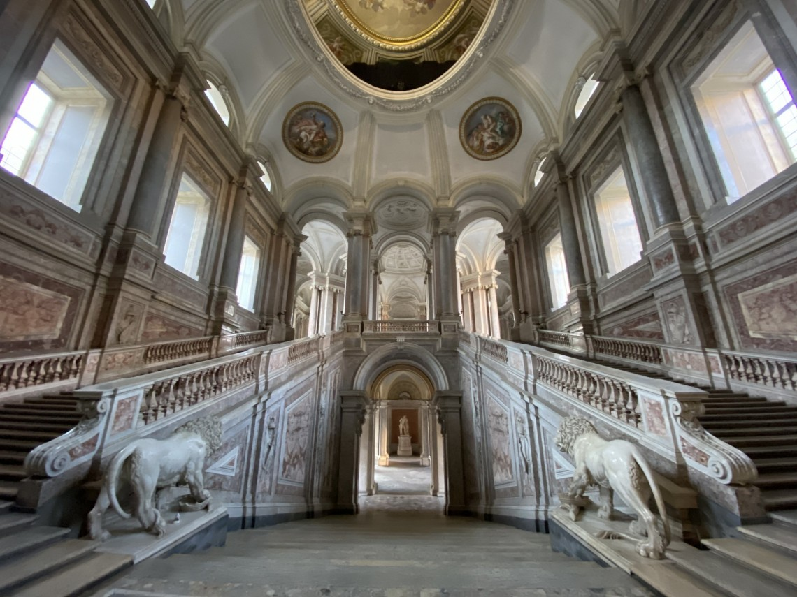 The grand staircase at Caserta's palace.