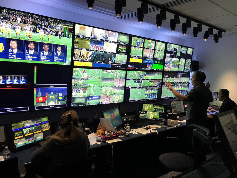 Production Control Room During Football Game at Notre Dame's Rex and Alice A. Martin Media Center.  Photo credit BeckTV.