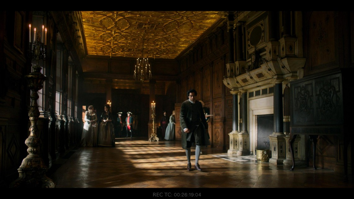 Certain locations were duplicated as sets; this is a recreation of a hallway at Hatfield House.